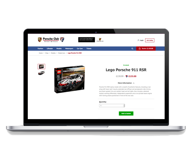 Content managed ecommerce and membership website